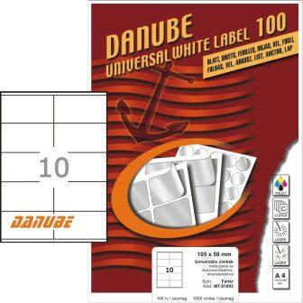 Danube MT-81093 univerzális 105 x 58 mm méretű fehér öntapadó etikett címke A4 -es íven (kiszerelés: 1000 etikett címke / doboz - 100 ív / doboz) (Danube LCJ-109)