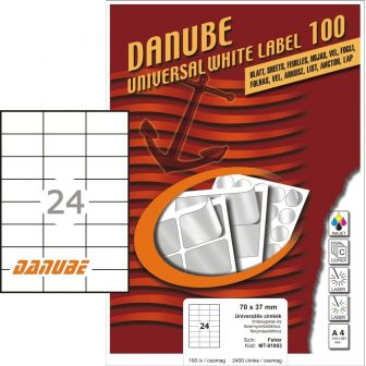 Danube MT-91003 univerzális 70 x 37 mm méretű fehér öntapadó etikett címke A4 -es íven (kiszerelés: 2400 etikett címke / doboz - 100 ív / doboz) (Danube LCJ-100)