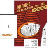 Danube MT-91063 univerzális 210 x 297 mm méretű fehér öntapadó etikett címke A4 -es íven (kiszerelés: 100 etikett címke / doboz - 100 ív / doboz) (Danube LCJ-106)
