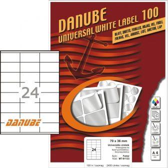 Danube MT-91133 univerzális 70 x 36 mm méretű fehér öntapadó etikett címke A4 -es íven (kiszerelés: 2400 etikett címke / doboz - 100 ív / doboz) (Danube LCJ-113)
