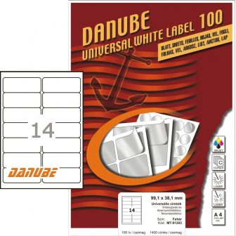 Danube MT-91203 univerzális 99,1 x 38,1 mm méretű fehér öntapadó etikett címke A4 -es íven (kiszerelés: 1400 etikett címke / doboz - 100 ív / doboz) (Danube LCJ-120)