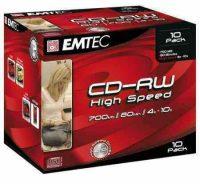 Emtec CD-RW - 80 min 700 MB 4-10x újraírható CD lemez normál tokban - kiszerelés 10 darab / doboz
