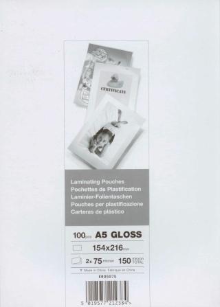 GBC Economy fényes meleglamináló fólia - 154 x 216 mm méretű (A/5) - 2 x 75 mikron vastagságú, 100 ív / csomag (GBC ER05075)