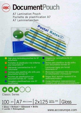 GBC HeatSeal fényes lamináló fólia - 80 x 111 mm méretű (A/7) - 2 x 125 mikron vastagságú, 100 ív / csomag (GBC IB581076)