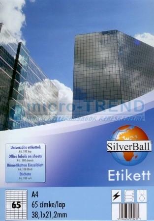 SilverBall univerzális 38,1 x 21,2 mm méretű öntapadó etikett címke A4 -es íven (kiszerelés: 6500 címke / doboz, 100 ív / doboz) (SilverBall 319-0010)