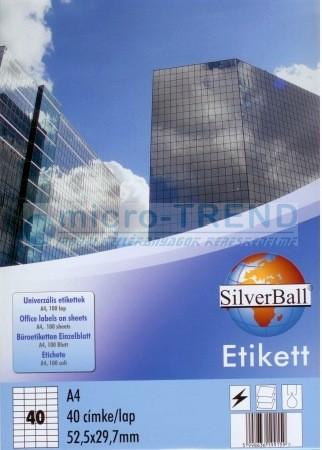 SilverBall univerzális 52,5 x 29,7 mm méretű öntapadó etikett címke A4 -es íven (kiszerelés: 4000 címke / doboz, 100 ív / doboz) (SilverBall 319-0030)