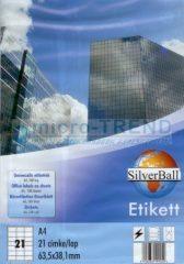 SilverBall univerzális 63,5 x 38,1 mm méretű öntapadó etikett címke A4 -es íven (kiszerelés: 2100 címke / doboz, 100 ív / doboz) (SilverBall 319-0040)