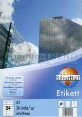 SilverBall univerzális 64 x 34 mm méretű öntapadó etikett címke A4 -es íven (kiszerelés: 2400 címke / doboz, 100 ív / doboz) (SilverBall 319-0050)