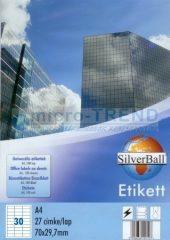 SilverBall univerzális 70 x 29,7 mm méretű öntapadó etikett címke A4 -es íven (kiszerelés: 3000 címke / doboz, 100 ív / doboz) (SilverBall 319-0060)