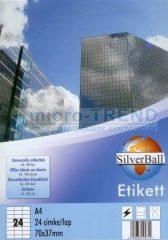 SilverBall univerzális 70 x 37 mm méretű öntapadó etikett címke A4 -es íven (kiszerelés: 2400 címke / doboz, 100 ív / doboz) (SilverBall 319-0065)