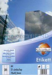 SilverBall univerzális 70 x 42,3 mm méretű öntapadó etikett címke A4 -es íven (kiszerelés: 2100 címke / doboz, 100 ív / doboz) (SilverBall 319-0067)