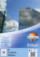 SilverBall univerzális 70 x 50,8 mm méretű öntapadó etikett címke A4 -es íven (kiszerelés: 1500 címke / doboz, 100 ív / doboz) (SilverBall 319-0069)