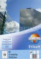 SilverBall univerzális 97 x 42,3 mm méretű öntapadó etikett címke A4 -es íven (kiszerelés: 1200 címke / doboz, 100 ív / doboz) (SilverBall 319-0080)