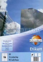 SilverBall univerzális 99,1 x 33,9 mm méretű öntapadó etikett címke A4 -es íven (kiszerelés: 1600 címke / doboz, 100 ív / doboz) (SilverBall 319-0090)