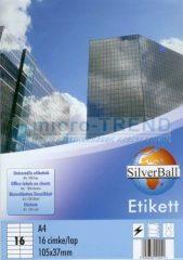 SilverBall univerzális 105 x 37 mm méretű öntapadó etikett címke A4 -es íven (kiszerelés: 1600 címke / doboz, 100 ív / doboz) (SilverBall 319-0100)