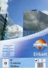 SilverBall univerzális 105 x 48 mm méretű öntapadó etikett címke A4 -es íven (kiszerelés: 1200 címke / doboz, 100 ív / doboz) (SilverBall 319-0106)