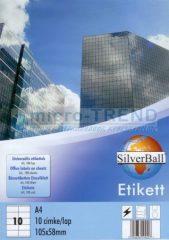 SilverBall univerzális 105 x 58 mm méretű öntapadó etikett címke A4 -es íven (kiszerelés: 1000 címke / doboz, 100 ív / doboz) (SilverBall 319-0110)