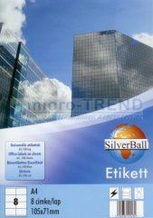SilverBall univerzális 105 x 71 mm méretű öntapadó etikett címke A4 -es íven (kiszerelés: 800 címke / doboz, 100 ív / doboz) (SilverBall 319-0115)