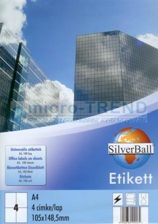 SilverBall univerzális 105 x 148,5 mm méretű öntapadó etikett címke A4 -es íven (kiszerelés: 400 címke / doboz, 100 ív / doboz) (SilverBall 319-0125)