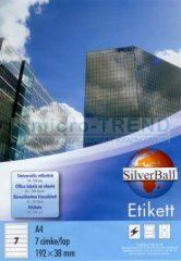 SilverBall univerzális 192 x 38 mm méretű öntapadó etikett címke A4 -es íven (kiszerelés: 700 címke / doboz, 100 ív / doboz) (SilverBall 319-0130)