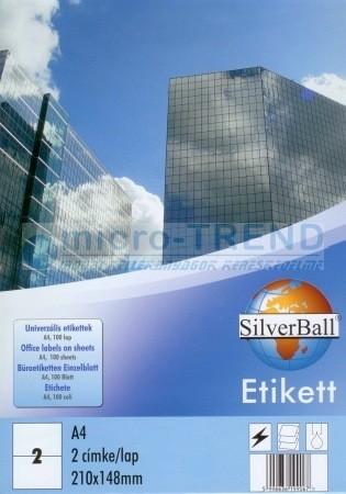 SilverBall univerzális 210 x 148 mm méretű öntapadó etikett címke A4 -es íven (kiszerelés: 200 címke / doboz, 100 ív / doboz) (SilverBall 319-0150)