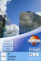 SilverBall univerzális 117 mm átmérőjű öntapadó CD / DVD etikett címke A4 -es íven (kiszerelés: 200 címke / doboz, 100 ív / doboz) (SilverBall 319-0500)
