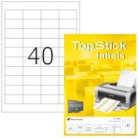 TopStick No. 8658 univerzális 48,5 x 25,4 mm méretű, fehér öntapadós etikett címke A4-es íven - 4000 címke / doboz - 100 ív / doboz (TopStick 8658)