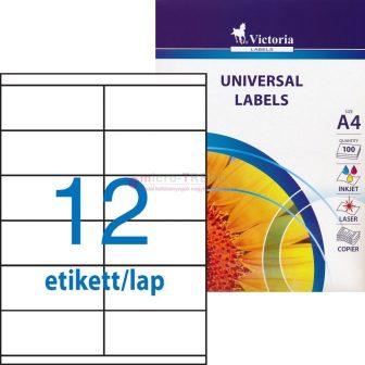 Victoria 105 x 48 mm méretű öntapadós etikett címke
