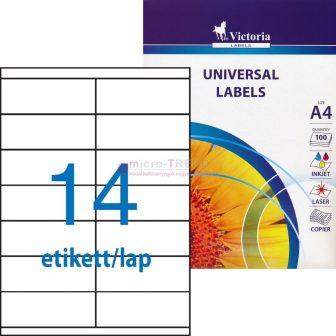 Victoria 105 x 40 mm méretű nyomtatható öntapadós etikett címke