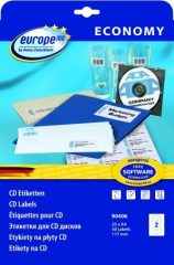 europe100 90406 univerzális 117 mm átmérőjű fehér öntapadó CD etikett címke A4 -es íven - 50 etikett címke / csomag - 25 ív / csomag (90406)